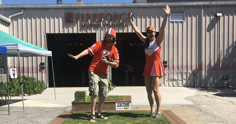 Clemson football tailgating in downtown Greenville SC
